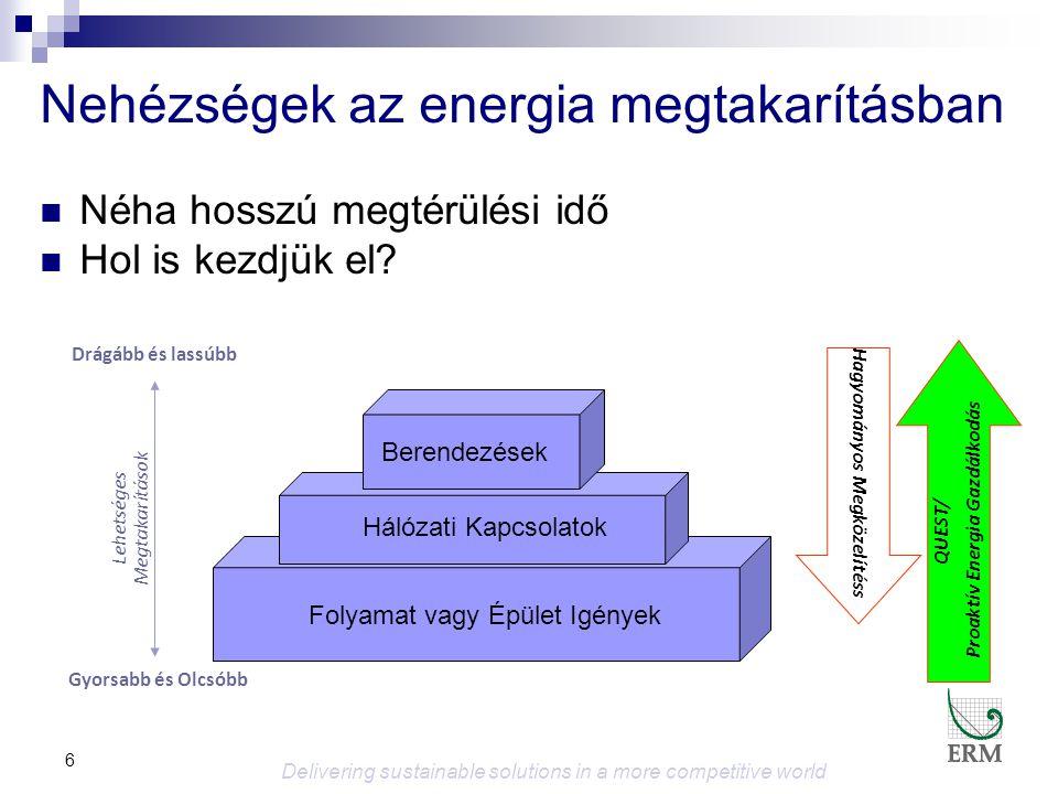 7 QUEST Energy Efficiency  5-15% erőforrás megtakarítás, nulla vagy nagyon alacsony beruházási költséggel  Gyorsan megtérülő intézkedésekre koncentrál  Hosszú távú előnyök  Fenntartható energia gazdálkodás folyamatos megtakarításokkal Delivering sustainable solutions in a more competitive world