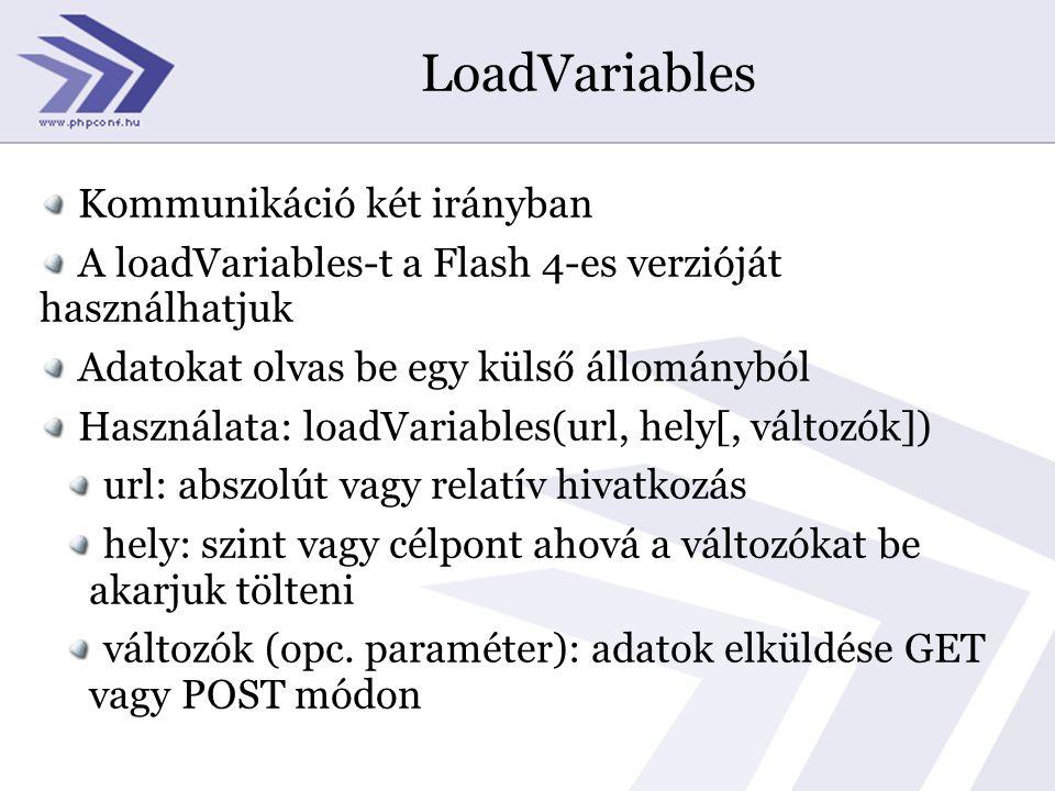 LoadVariables Kommunikáció két irányban A loadVariables-t a Flash 4-es verzióját használhatjuk Adatokat olvas be egy külső állományból Használata: loadVariables(url, hely[, változók]) url: abszolút vagy relatív hivatkozás hely: szint vagy célpont ahová a változókat be akarjuk tölteni változók (opc.