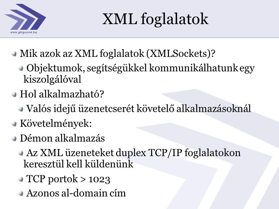 XML foglalatok Mik azok az XML foglalatok (XMLSockets).