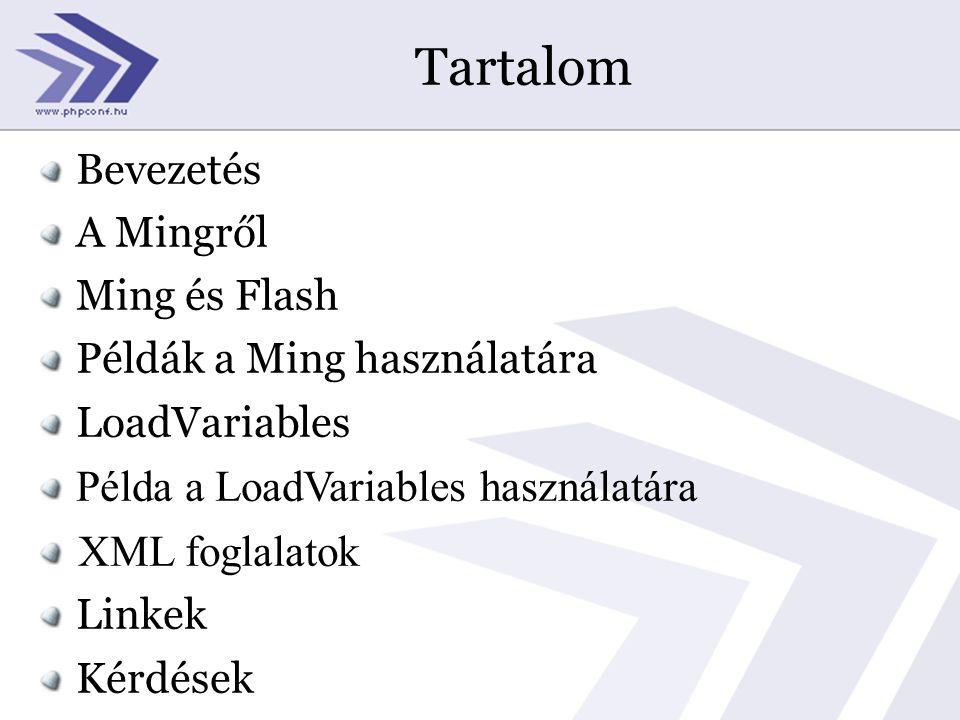 Tartalom Bevezetés A Mingről Ming és Flash Példák a Ming használatára LoadVariables Példa a LoadVariables használatára XML foglalatok Linkek Kérdések