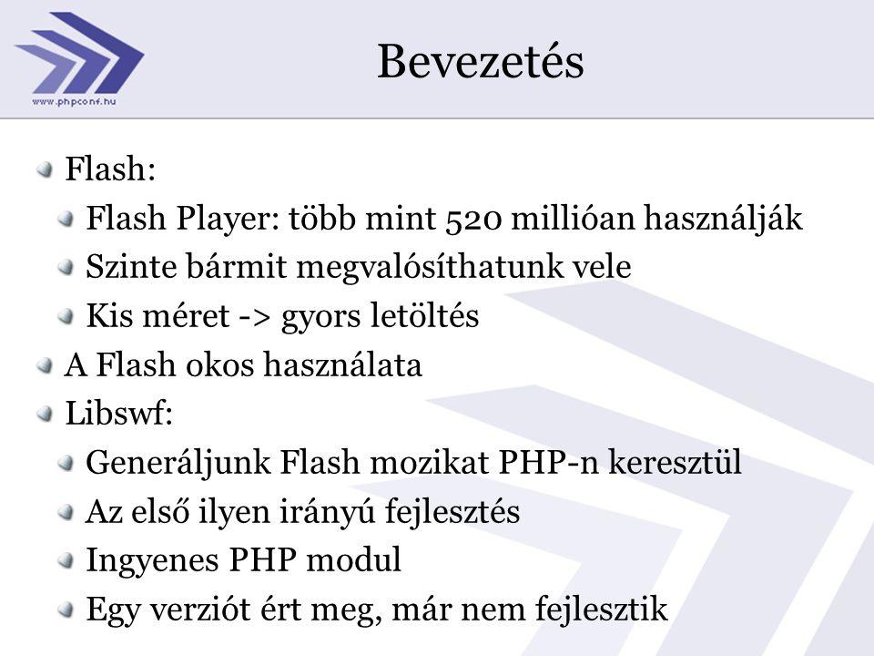 Bevezetés Flash: Flash Player: több mint 520 millióan használják Szinte bármit megvalósíthatunk vele Kis méret -> gyors letöltés A Flash okos használata Libswf: Generáljunk Flash mozikat PHP-n keresztül Az első ilyen irányú fejlesztés Ingyenes PHP modul Egy verziót ért meg, már nem fejlesztik