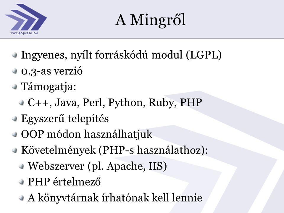 A Mingről Ingyenes, nyílt forráskódú modul (LGPL) 0.3-as verzió Támogatja: C++, Java, Perl, Python, Ruby, PHP Egyszerű telepítés OOP módon használhatjuk Követelmények (PHP-s használathoz): Webszerver (pl.