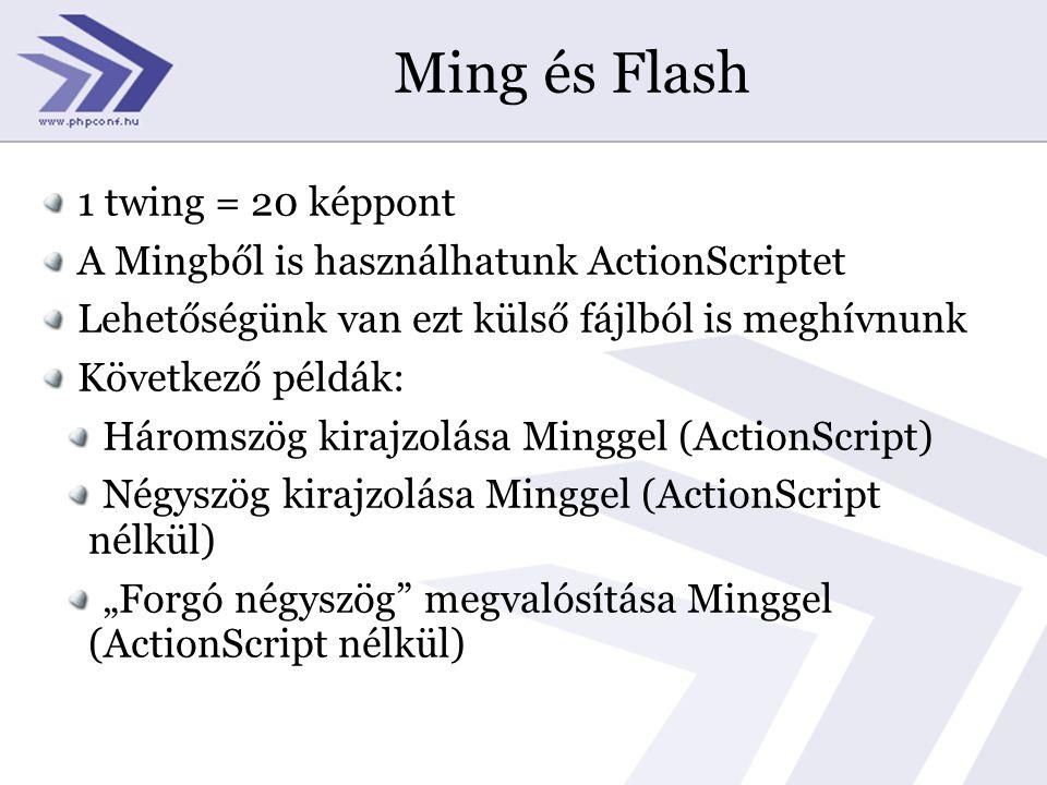 """Ming és Flash 1 twing = 20 képpont A Mingből is használhatunk ActionScriptet Lehetőségünk van ezt külső fájlból is meghívnunk Következő példák: Háromszög kirajzolása Minggel (ActionScript) Négyszög kirajzolása Minggel (ActionScript nélkül) """"Forgó négyszög megvalósítása Minggel (ActionScript nélkül)"""