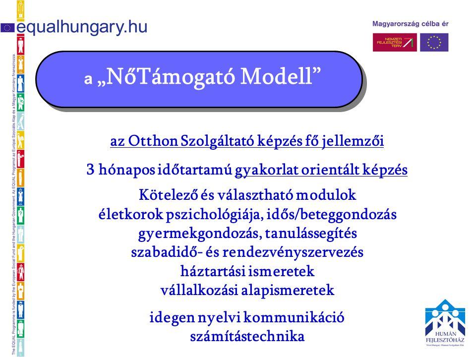 """a """"NőTámogató Modell az Otthon Szolgáltató képzés fő jellemzői 3 hónapos időtartamú gyakorlat orientált képzés Kötelező és választható modulok életkorok pszichológiája, idős/beteggondozás gyermekgondozás, tanulássegítés szabadidő- és rendezvényszervezés háztartási ismeretek vállalkozási alapismeretek idegen nyelvi kommunikáció számítástechnika"""