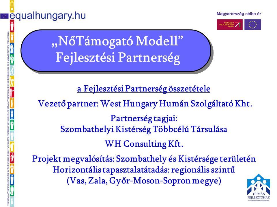""""""" NőTámogató Modell Fejlesztési Partnerség a Fejlesztési Partnerség összetétele Vezető partner: West Hungary Humán Szolgáltató Kht."""