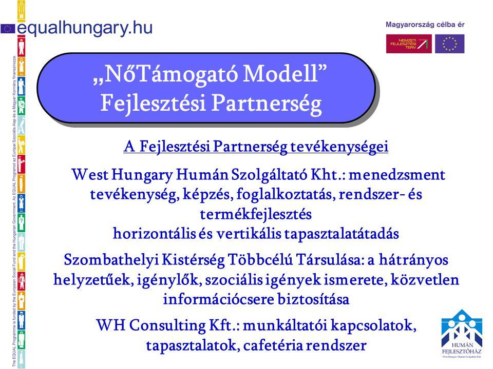 """"""" NőTámogató Modell"""" Fejlesztési Partnerség A Fejlesztési Partnerség tevékenységei West Hungary Humán Szolgáltató Kht.: menedzsment tevékenység, képzé"""