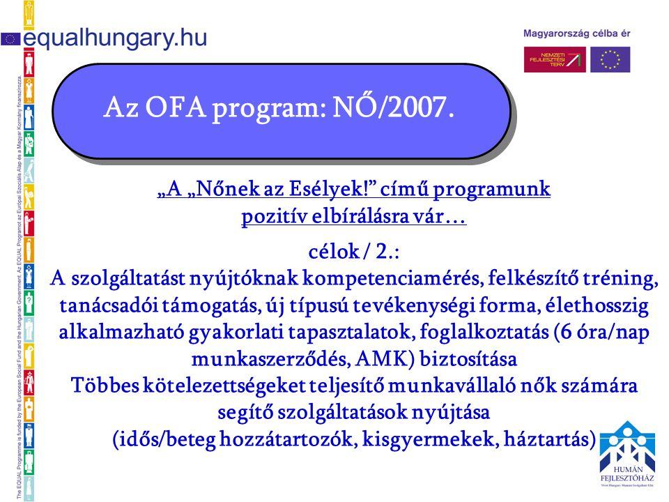 """Az OFA program: NŐ/2007. """"A """"Nőnek az Esélyek!"""" című programunk pozitív elbírálásra vár… célok / 2.: A szolgáltatást nyújtóknak kompetenciamérés, felk"""
