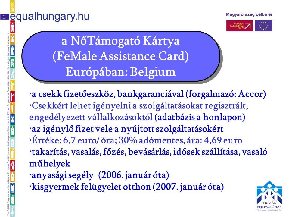 •a csekk fizetőeszköz, bankgaranciával (forgalmazó: Accor) •Csekkért lehet igényelni a szolgáltatásokat regisztrált, engedélyezett vállalkozásoktól (adatbázis a honlapon) •az igénylő fizet vele a nyújtott szolgáltatásokért •Értéke: 6,7 euro/ óra; 30% adómentes, ára: 4,69 euro •takarítás, vasalás, főzés, bevásárlás, idősek szállítása, vasaló műhelyek •anyasági segély (2006.