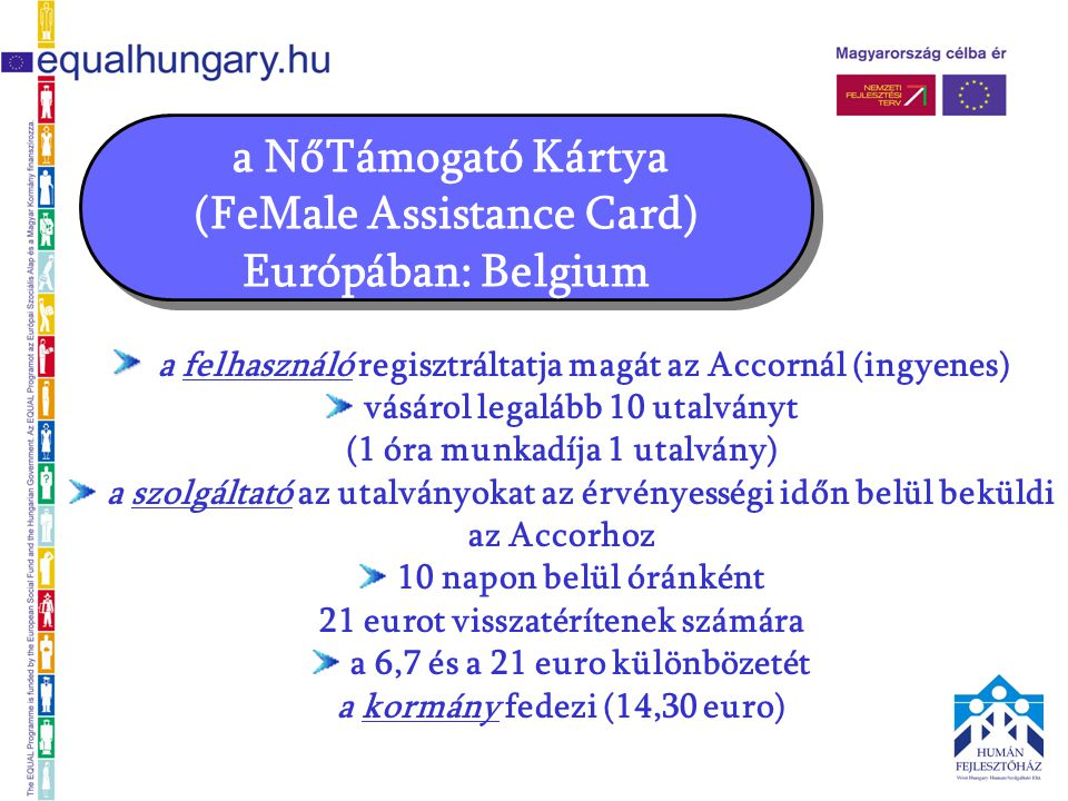 a felhasználó regisztráltatja magát az Accornál (ingyenes) vásárol legalább 10 utalványt (1 óra munkadíja 1 utalvány) a szolgáltató az utalványokat az érvényességi időn belül beküldi az Accorhoz 10 napon belül óránként 21 eurot visszatérítenek számára a 6,7 és a 21 euro különbözetét a kormány fedezi (14,30 euro)