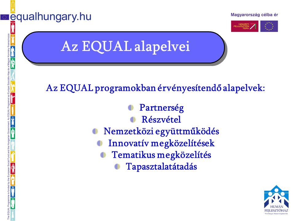 """Az EQUAL prioritások Magyarországon Esélyegyenlőségi projektek (H téma) támogatható céljai: a nemek közötti munkaerő-piaci különbségek és a foglalkozási szegregáció csökkentése a nők és férfiak esélyegyenlőségének biztosítása a munkaerő-piacon a nők és férfiak közötti egyenlőség kérdésének tudatosítása a sztereotípiák és társadalmi minták megváltoztatása a nők munkaerő-piaci helyzetének javítása képzéssel, készségfejlesztéssel 5 """"női projekt az országban"""