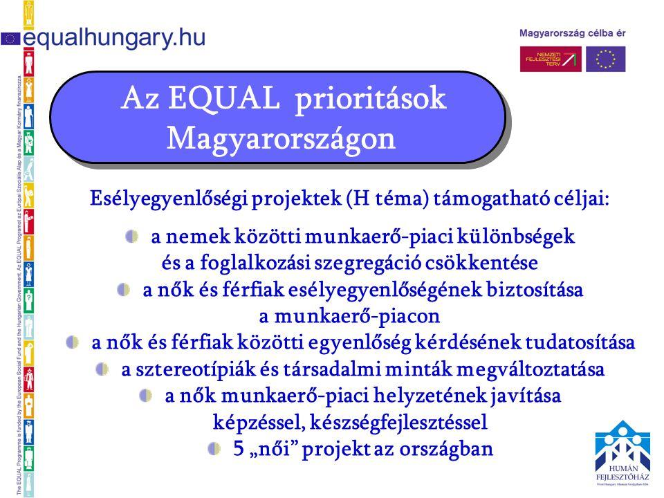 Az EQUAL prioritások Magyarországon Esélyegyenlőségi projektek (H téma) támogatható céljai: a nemek közötti munkaerő-piaci különbségek és a foglalkozá