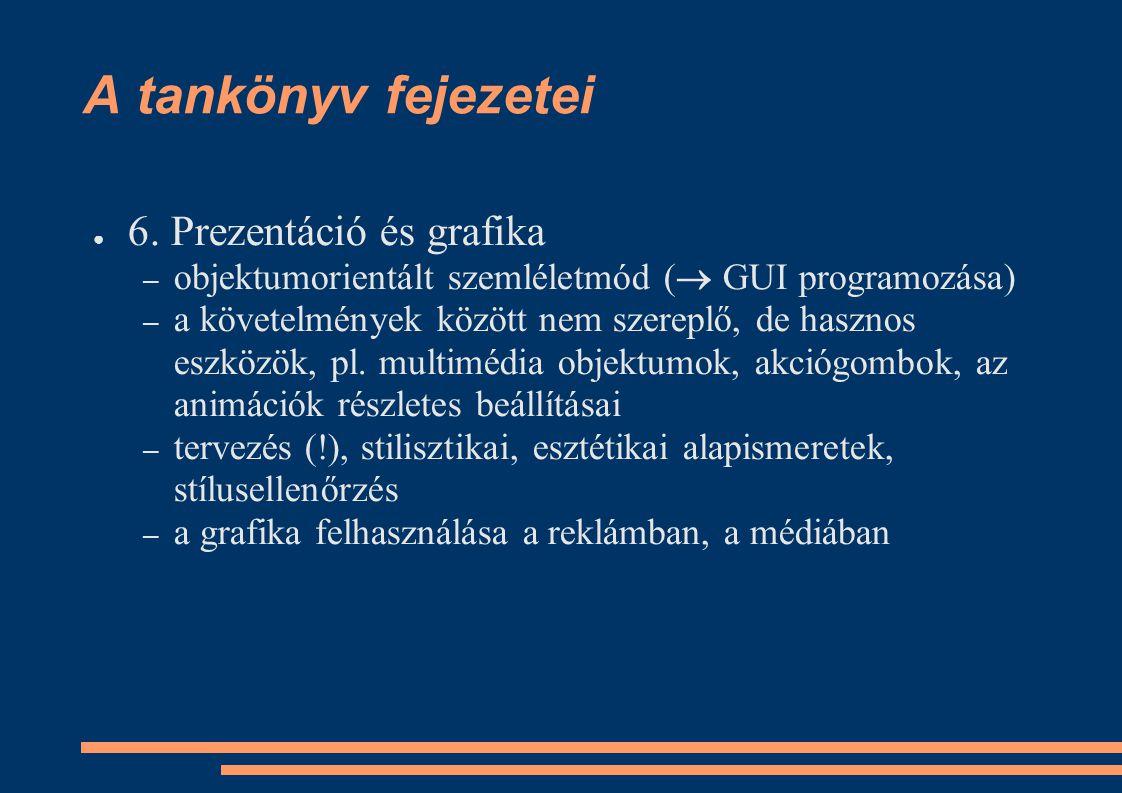A tankönyv fejezetei ● 6. Prezentáció és grafika – objektumorientált szemléletmód (  GUI programozása) – a követelmények között nem szereplő, de hasz
