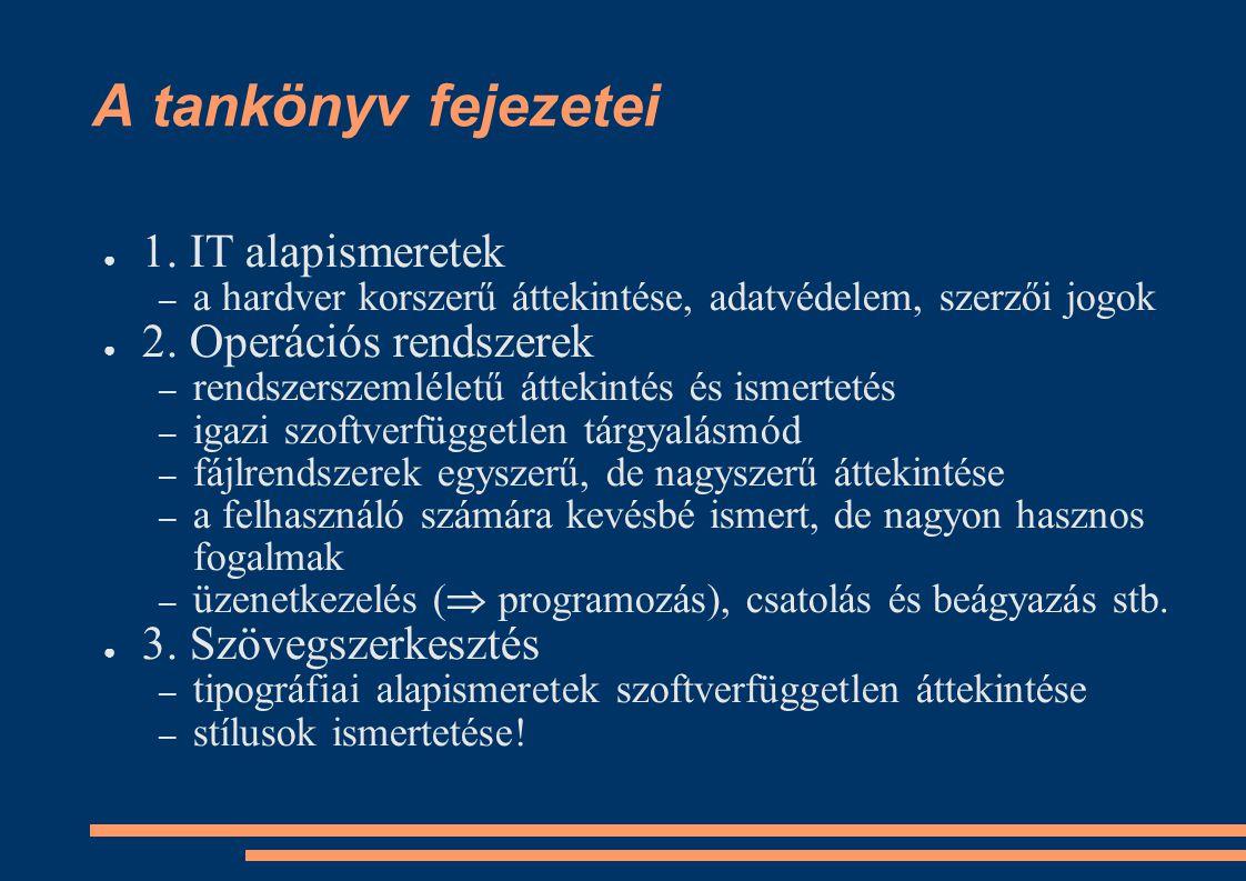 A tankönyv fejezetei ● 1. IT alapismeretek – a hardver korszerű áttekintése, adatvédelem, szerzői jogok ● 2. Operációs rendszerek – rendszerszemléletű