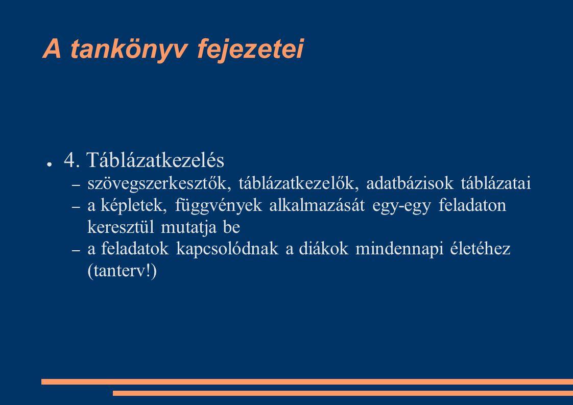 A tankönyv fejezetei ● 4. Táblázatkezelés – szövegszerkesztők, táblázatkezelők, adatbázisok táblázatai – a képletek, függvények alkalmazását egy-egy f