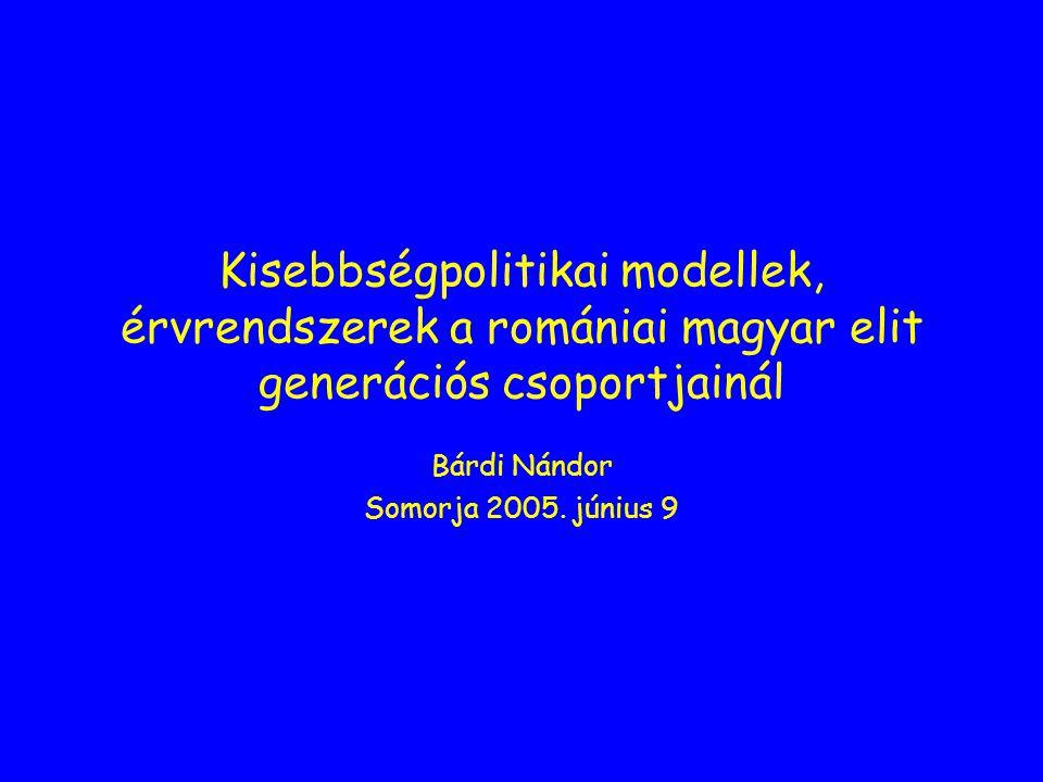 Kisebbségpolitikai modellek, érvrendszerek a romániai magyar elit generációs csoportjainál Bárdi Nándor Somorja 2005.