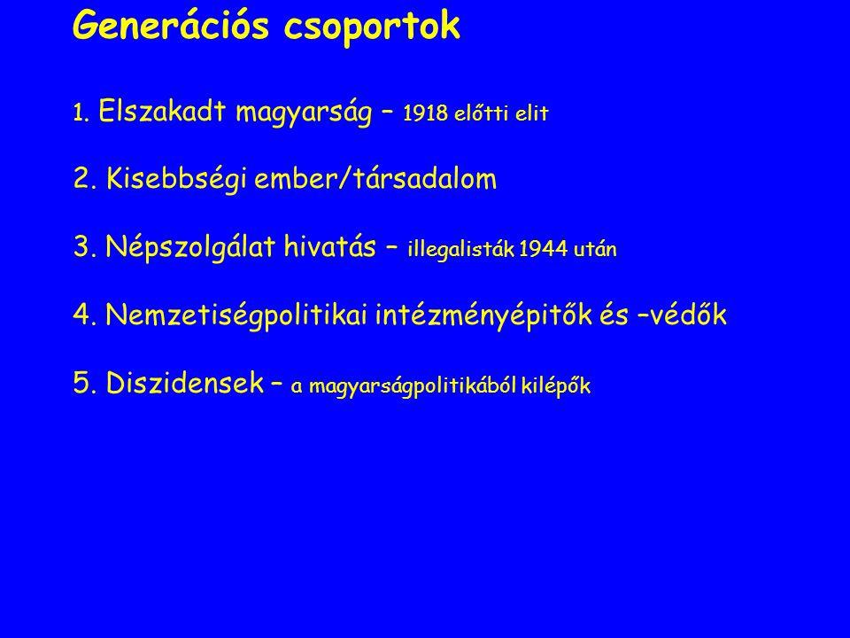 Generációs csoportok 1. Elszakadt magyarság – 1918 előtti elit 2.
