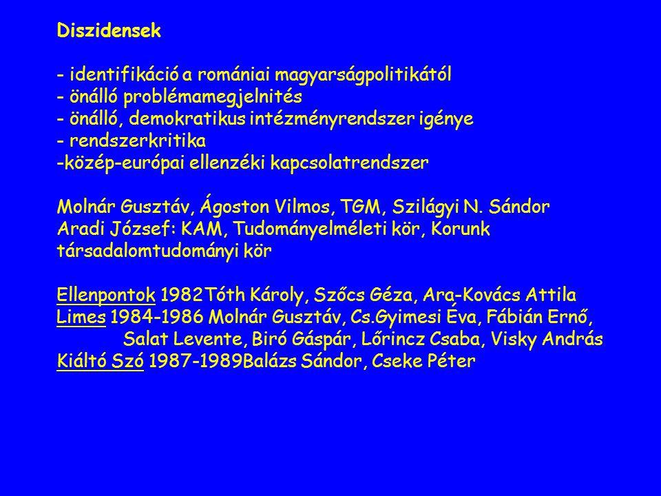 Diszidensek - identifikáció a romániai magyarságpolitikától - önálló problémamegjelnités - önálló, demokratikus intézményrendszer igénye - rendszerkritika -közép-európai ellenzéki kapcsolatrendszer Molnár Gusztáv, Ágoston Vilmos, TGM, Szilágyi N.