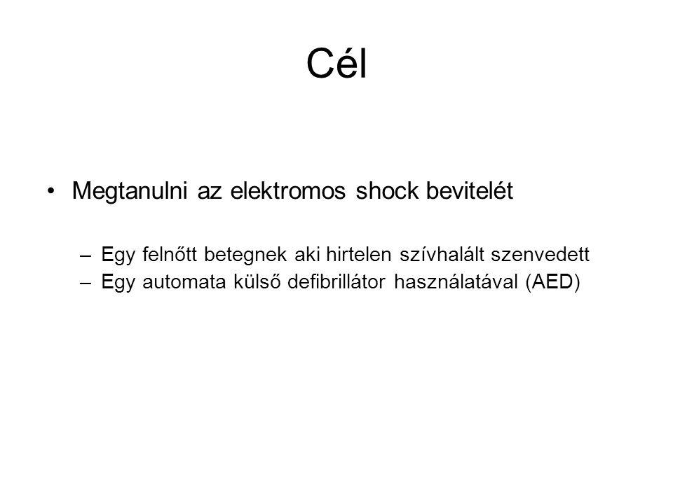 Cél •Megtanulni az elektromos shock bevitelét –Egy felnőtt betegnek aki hirtelen szívhalált szenvedett –Egy automata külső defibrillátor használatával (AED)