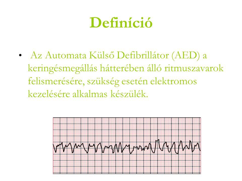 Definíció • Az Automata Külső Defibrillátor (AED) a keringésmegállás hátterében álló ritmuszavarok felismerésére, szükség esetén elektromos kezelésére alkalmas készülék.