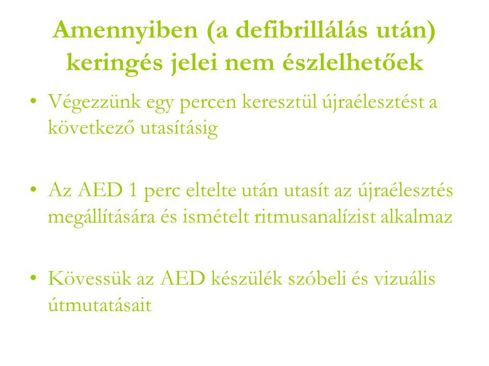 Amennyiben (a defibrillálás után) keringés jelei nem észlelhetőek •Végezzünk egy percen keresztül újraélesztést a következő utasításig •Az AED 1 perc eltelte után utasít az újraélesztés megállítására és ismételt ritmusanalízist alkalmaz •Kövessük az AED készülék szóbeli és vizuális útmutatásait