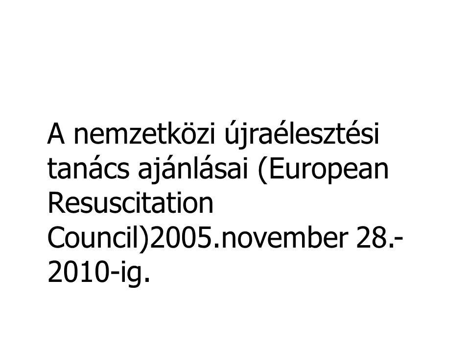 Nemzetközi újraélesztési irányelvek 2006 •Pulzus ellenőrzés •A keringés jeleinek keresése (lélegzés, köhögés, mozgás) •Nem professzionális elsősegély nyújtóknak a pulzus ellenőrzése nem kötelező •Egészségügyi dolgozóknak a pulzus ellenőrzése kötelező