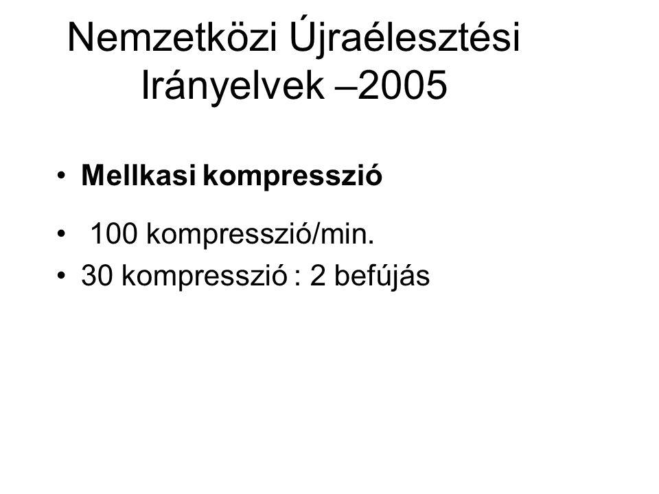Nemzetközi Újraélesztési Irányelvek –2005 •Mellkasi kompresszió • 100 kompresszió/min.
