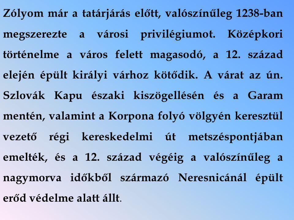 Zólyom már a tatárjárás előtt, valószínűleg 1238-ban megszerezte a városi privilégiumot.