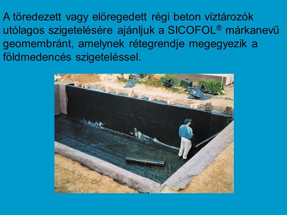 A töredezett vagy elöregedett régi beton víztározók utólagos szigetelésére ajánljuk a SICOFOL ® márkanevű geomembránt, amelynek rétegrendje megegyezik a földmedencés szigeteléssel.