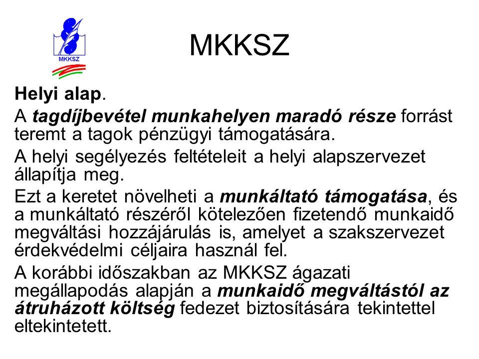 MKKSZ Helyi alap. A tagdíjbevétel munkahelyen maradó része forrást teremt a tagok pénzügyi támogatására. A helyi segélyezés feltételeit a helyi alapsz