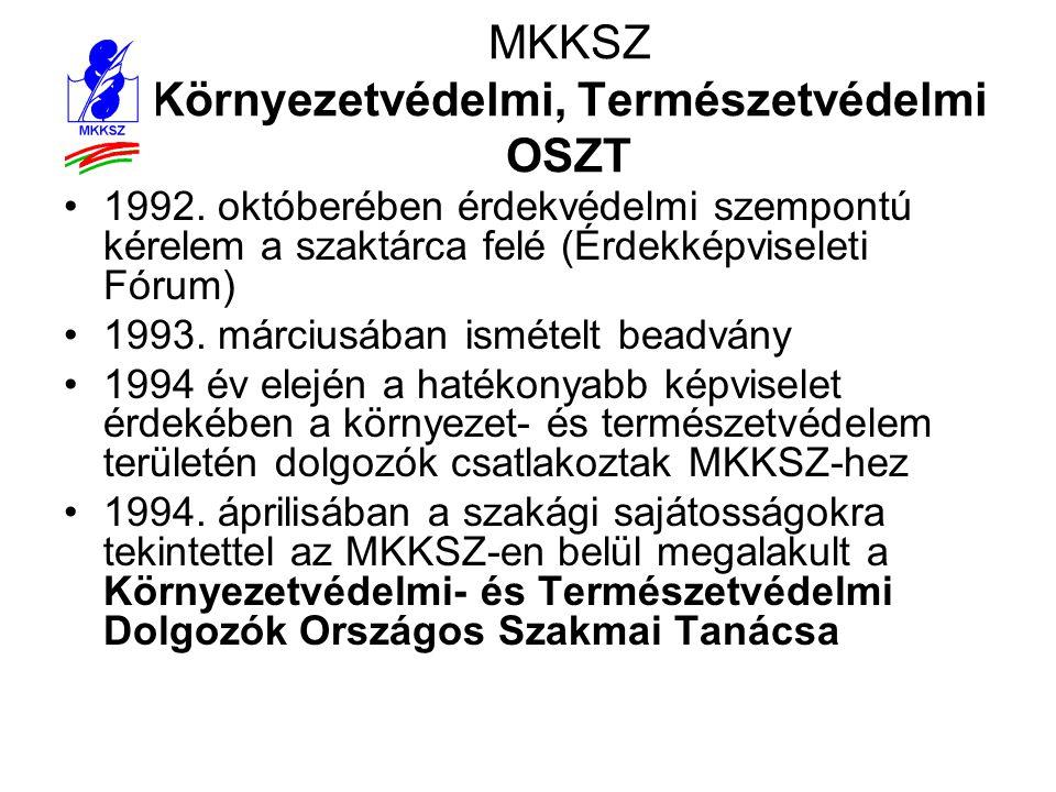 MKKSZ Környezetvédelmi, Természetvédelmi OSZT •1992. októberében érdekvédelmi szempontú kérelem a szaktárca felé (Érdekképviseleti Fórum) •1993. márci