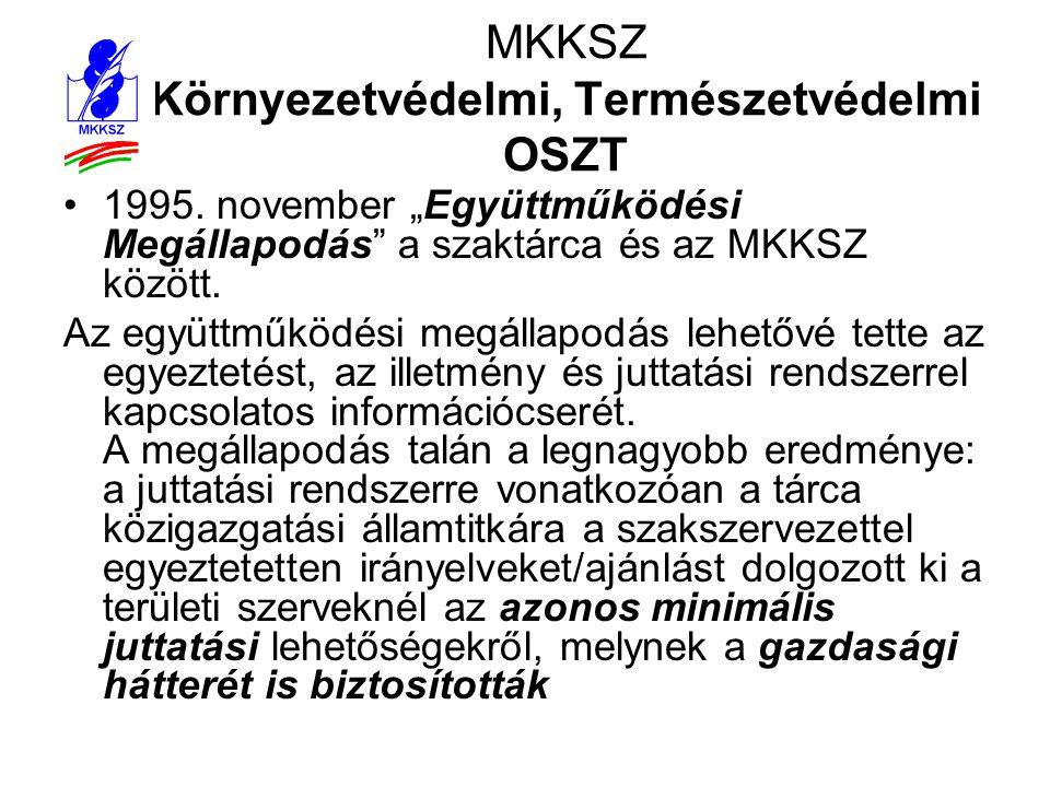 """MKKSZ Környezetvédelmi, Természetvédelmi OSZT •1995. november """"Együttműködési Megállapodás"""" a szaktárca és az MKKSZ között. Az együttműködési megállap"""
