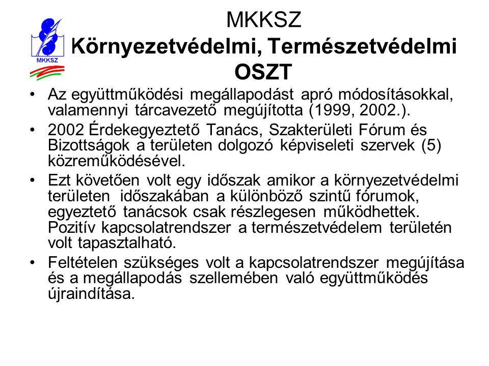 MKKSZ Környezetvédelmi, Természetvédelmi OSZT •Az együttműködési megállapodást apró módosításokkal, valamennyi tárcavezető megújította (1999, 2002.).