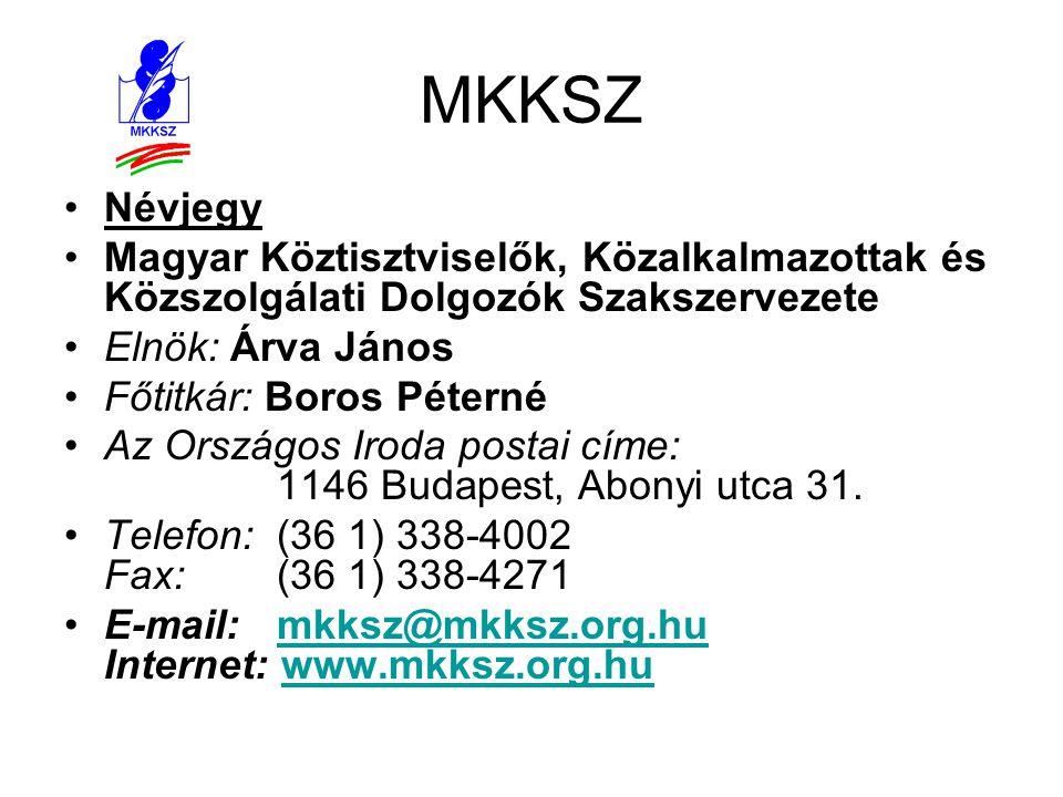 MKKSZ •Névjegy •Magyar Köztisztviselők, Közalkalmazottak és Közszolgálati Dolgozók Szakszervezete •Elnök: Árva János •Főtitkár: Boros Péterné •Az Orsz