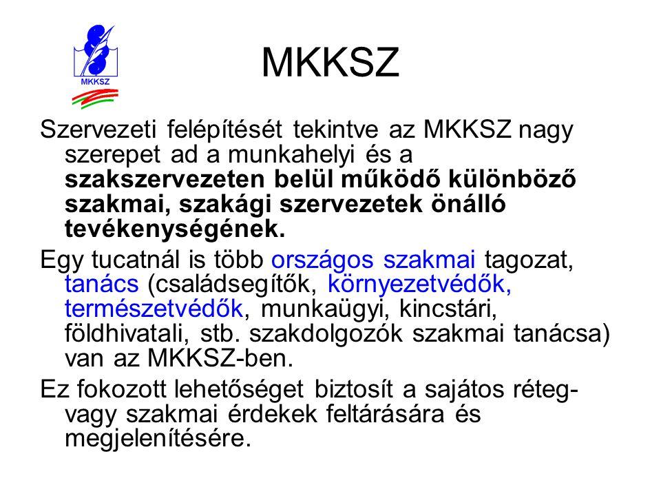 MKKSZ Szervezeti felépítését tekintve az MKKSZ nagy szerepet ad a munkahelyi és a szakszervezeten belül működő különböző szakmai, szakági szervezetek