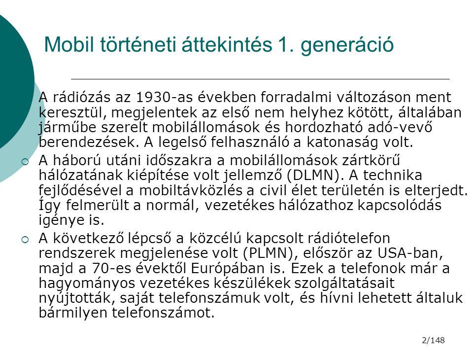 23/148 GSM RÁDIÓS JELLEMZŐK  Szinkronizáló börszt (SB), a mobil állomás időbeli szinkronizálására.