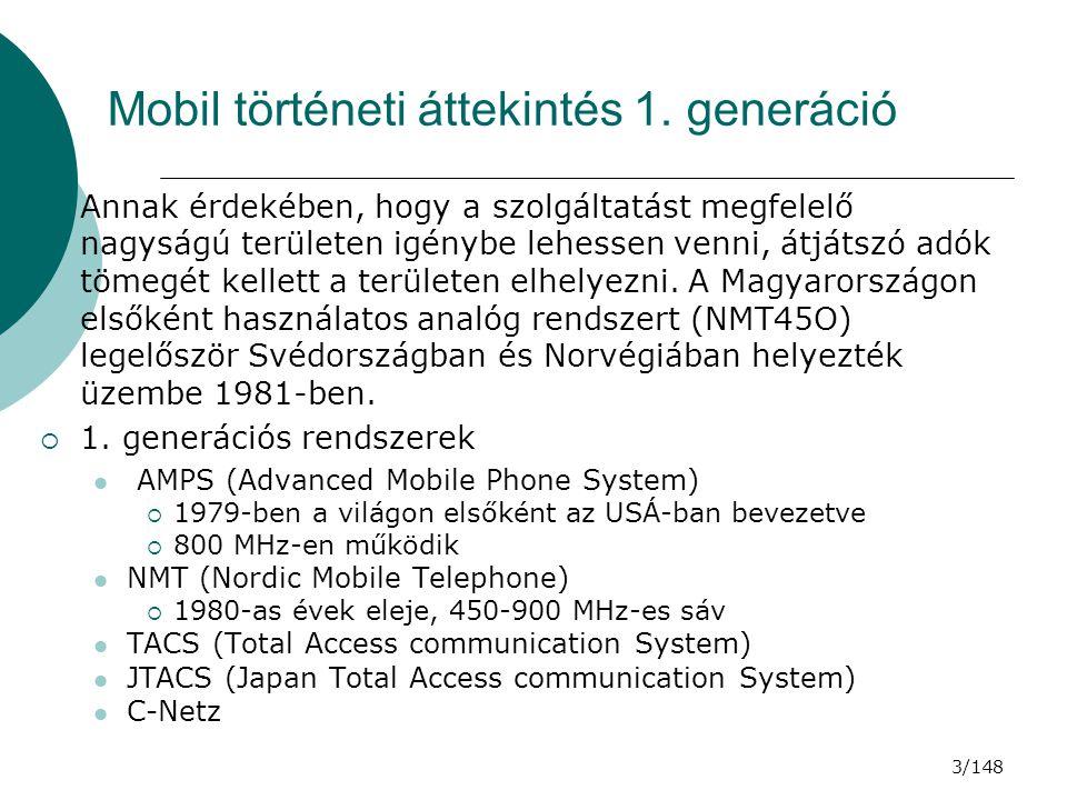 34/148 GSM RÁDIÓS JELLEMZŐK  Forgalmazás TCH-n át  MS az SACCH-en jelenti a BCCH-ek szintjét és minőségét, BS utasítja MS-t a teljesítmény és időzítés beállítására  A hívást az MS vagy a BS végezteti (bontja a kapcsolatot)  AZ MS TELJESÍTMÉNYSZINT BEÁLLÍTÁSA  Ha a BS vett jelének szintje és minősége (BER) túl jó: szükségtelenül terheli az akkumulátort, szennyezi a teret (interferencia szint), ellenkező esetben tül rossz hibaarány.
