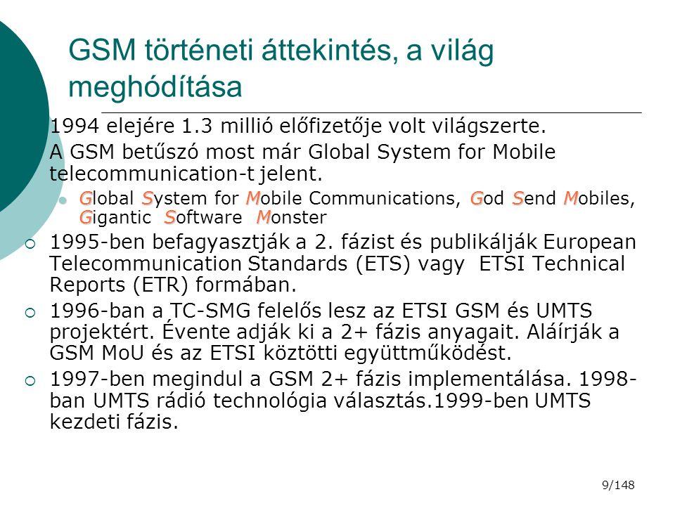 30/148 GSM RÁDIÓS JELLEMZŐK  A bejelentkezés folyamata (készenléti állapotba jutás):  MS bekapcsolása (Hálózat keresése: saját, tárolt, engedélyezett)  Csatornák megmérése és jelszint szerinti rendezése  BCCH-e.