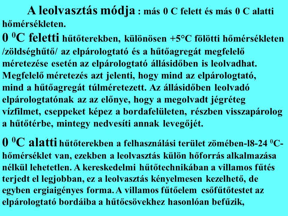 A leolvasztás módja : más 0 C felett és más 0 C alatti hőmérsékleten. 0 0 C feletti hűtőterekben, különösen +5°C fölötti hőmérsékleten /zöldséghűtő/ a