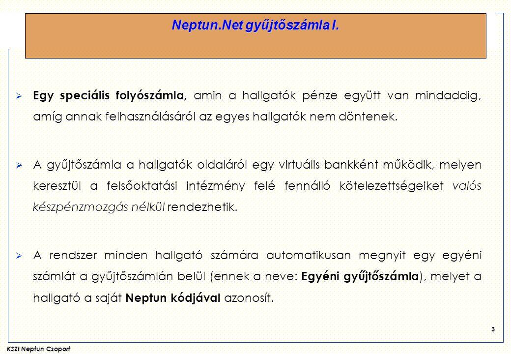 KSZI Neptun Csoport 14 Neptun.Net gyűjtőszámla.Hallgatói web.