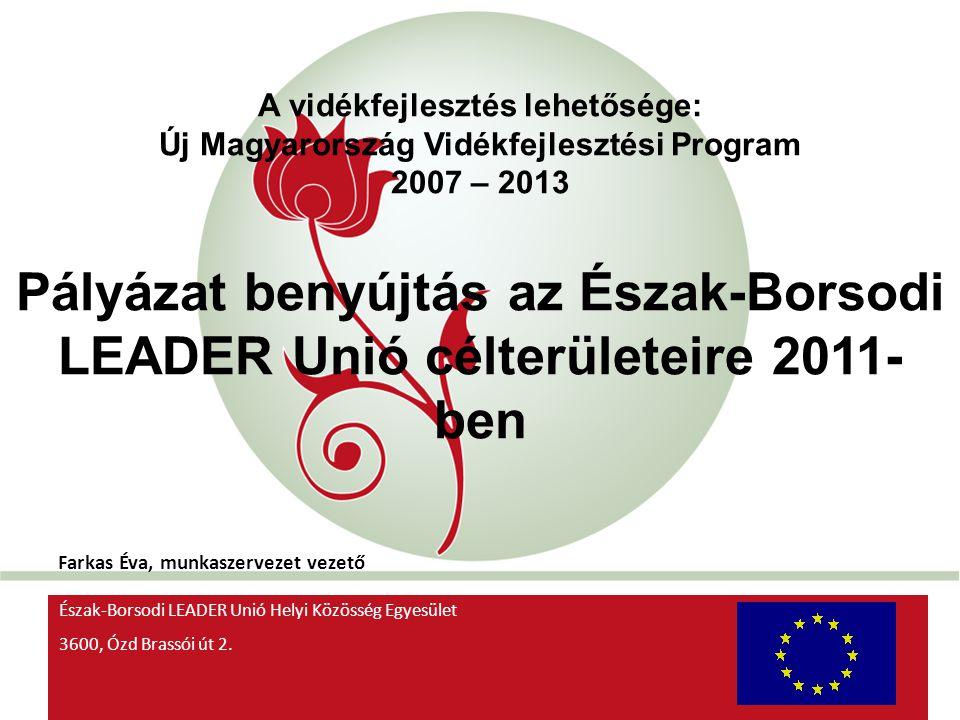 LEADER 2011 pályázat A pályázatra vonatkozó rendeletek: 149/2011 (IX.20) számú MVH közlemény 76/2011 (VII.29) VM rendelet (LEADER rendelet) 2014.