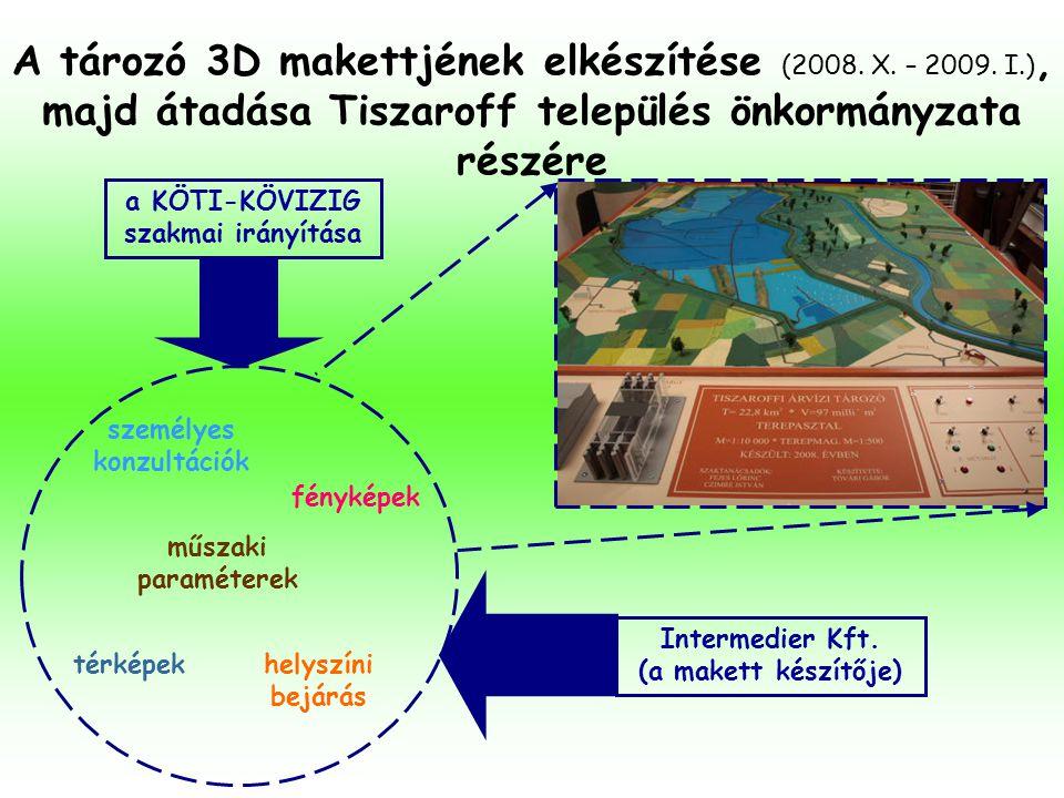 A tározó 3D makettjének elkészítése (2008. X. – 2009. I.), majd átadása Tiszaroff település önkormányzata részére térképek fényképek helyszíni bejárás
