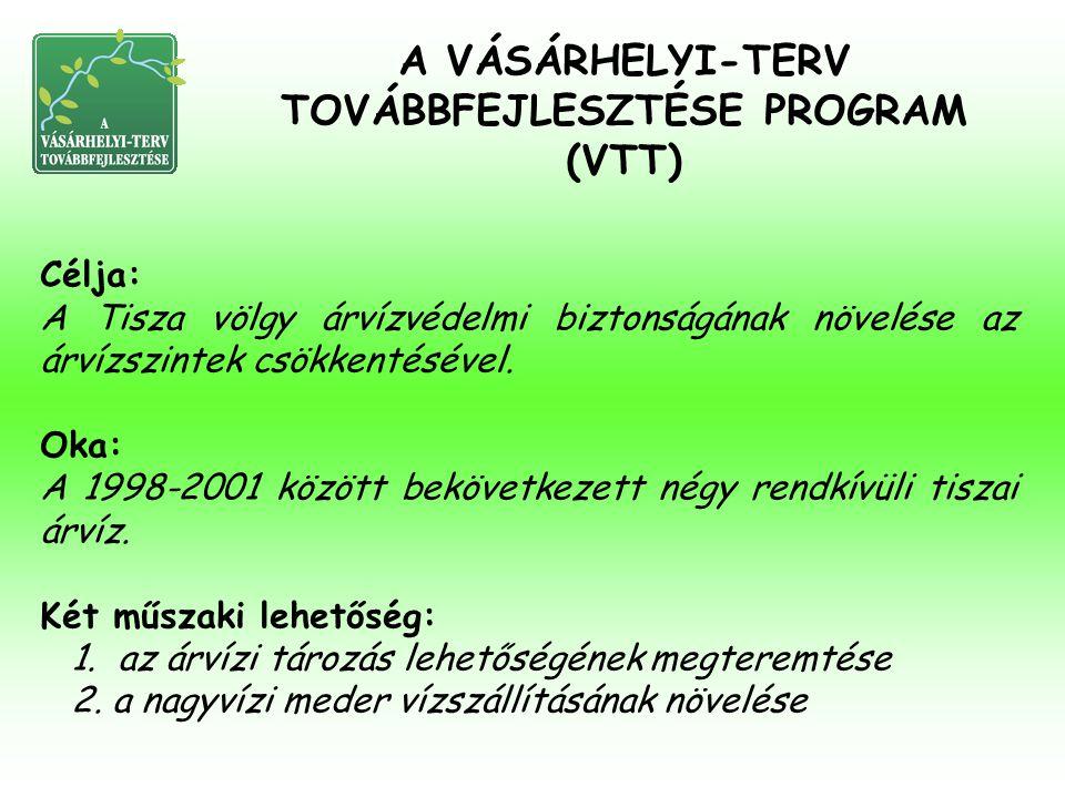 Célja: A Tisza völgy árvízvédelmi biztonságának növelése az árvízszintek csökkentésével. Oka: A 1998-2001 között bekövetkezett négy rendkívüli tiszai