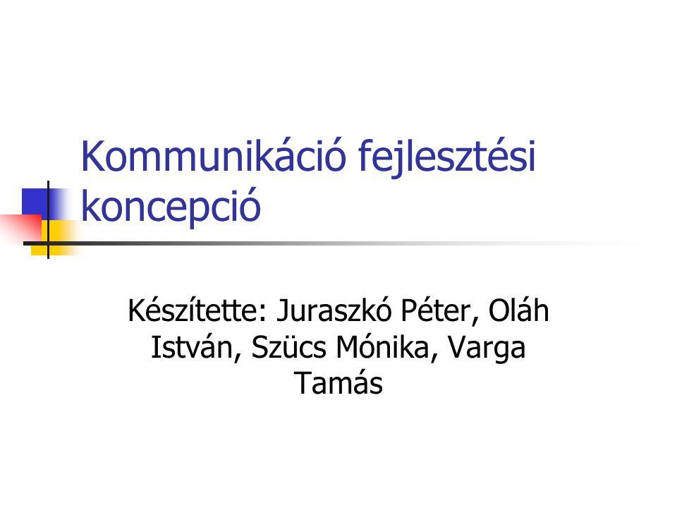 Kommunikáció fejlesztési koncepció Készítette: Juraszkó Péter, Oláh István, Szücs Mónika, Varga Tamás