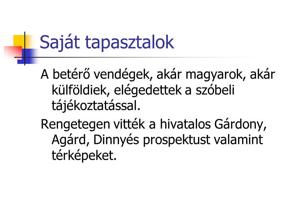 Saját tapasztalok A betérő vendégek, akár magyarok, akár külföldiek, elégedettek a szóbeli tájékoztatással.