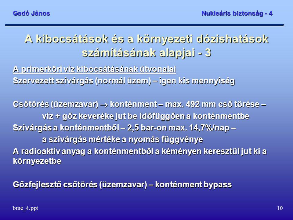 Gadó János Nukleáris biztonság - 4 bme_4.ppt10 A kibocsátások és a környezeti dózishatások számításának alapjai - 3 A primerköri víz kibocsátásának út