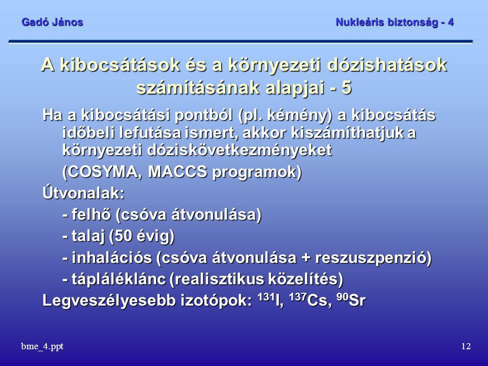 Gadó János Nukleáris biztonság - 4 bme_4.ppt12 A kibocsátások és a környezeti dózishatások számításának alapjai - 5 Ha a kibocsátási pontból (pl.