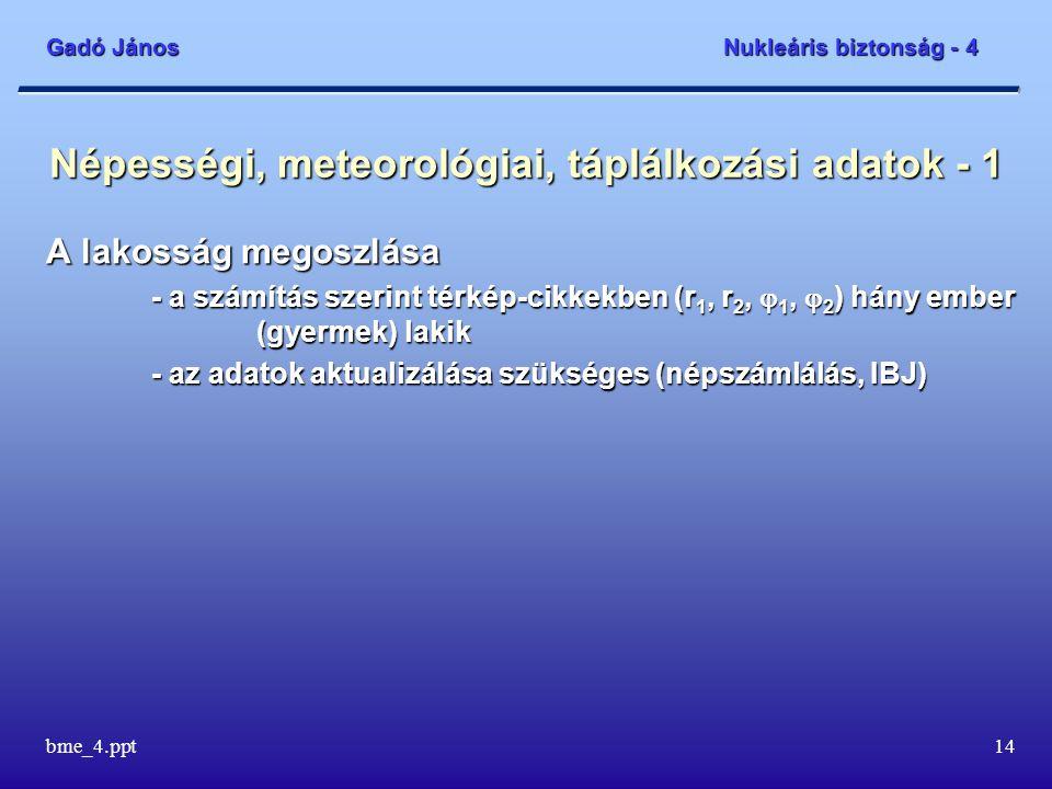 Gadó János Nukleáris biztonság - 4 bme_4.ppt14 Népességi, meteorológiai, táplálkozási adatok - 1 A lakosság megoszlása - a számítás szerint térkép-cikkekben (r 1, r 2,  1,  2 ) hány ember (gyermek) lakik - az adatok aktualizálása szükséges (népszámlálás, IBJ)