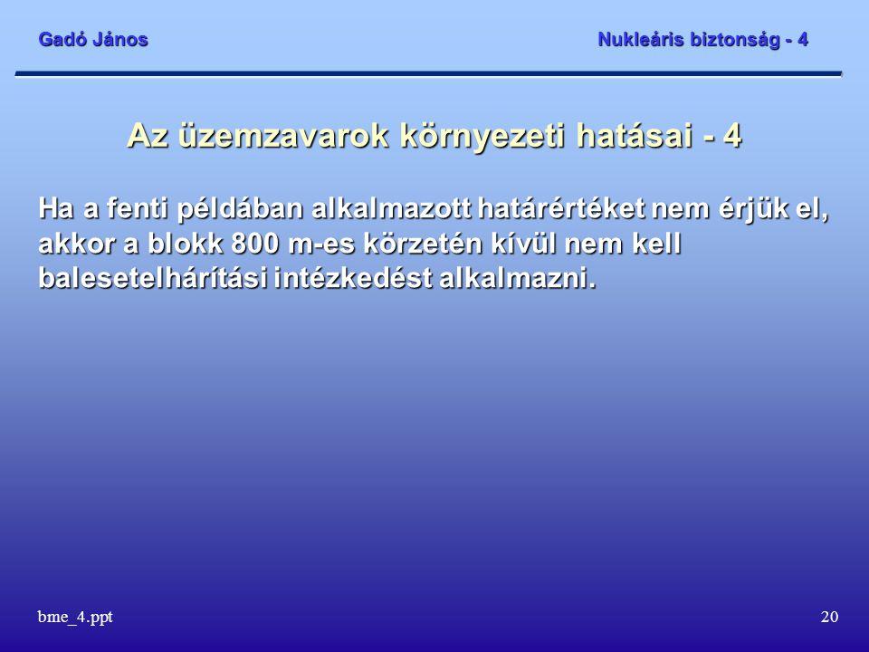 Gadó János Nukleáris biztonság - 4 bme_4.ppt20 Az üzemzavarok környezeti hatásai - 4 Ha a fenti példában alkalmazott határértéket nem érjük el, akkor a blokk 800 m-es körzetén kívül nem kell balesetelhárítási intézkedést alkalmazni.