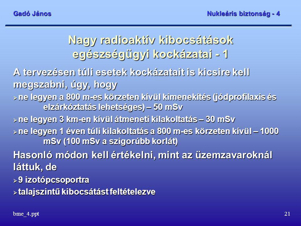Gadó János Nukleáris biztonság - 4 bme_4.ppt21 Nagy radioaktív kibocsátások egészségügyi kockázatai - 1 A tervezésen túli esetek kockázatait is kicsire kell megszabni, úgy, hogy  ne legyen a 800 m-es körzeten kívül kimenekítés (jódprofilaxis és elzárkóztatás lehetséges) – 50 mSv  ne legyen 3 km-en kívül átmeneti kilakoltatás – 30 mSv  ne legyen 1 éven túli kilakoltatás a 800 m-es körzeten kívül – 1000 mSv (100 mSv a szigorúbb korlát) Hasonló módon kell értékelni, mint az üzemzavaroknál láttuk, de  9 izotópcsoportra  talajszintű kibocsátást feltételezve