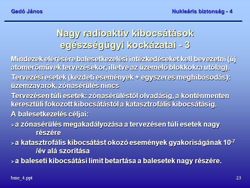 Gadó János Nukleáris biztonság - 4 bme_4.ppt23 Nagy radioaktív kibocsátások egészségügyi kockázatai - 3 Mindezek elérésére balesetkezelési intézkedéseket kell bevezetni (új atomerőművek tervezésekor, illetve az üzemelő blokkokra utólag).